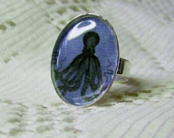 Octopus Art Ring - Round Silver - STEAMPUNK - Victorian Style - Kraken - Geek - Black Blue - adjustable ring band