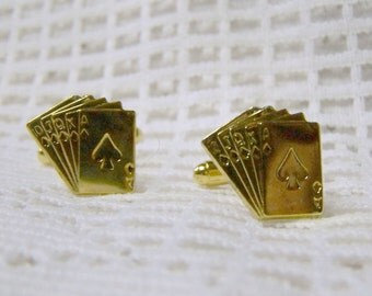 Gambler Gold Cuff Links -Cards Cuff Links - Poker - Straight - Deck of Cards Cuff Links - Gambler - Dealer - Vegas