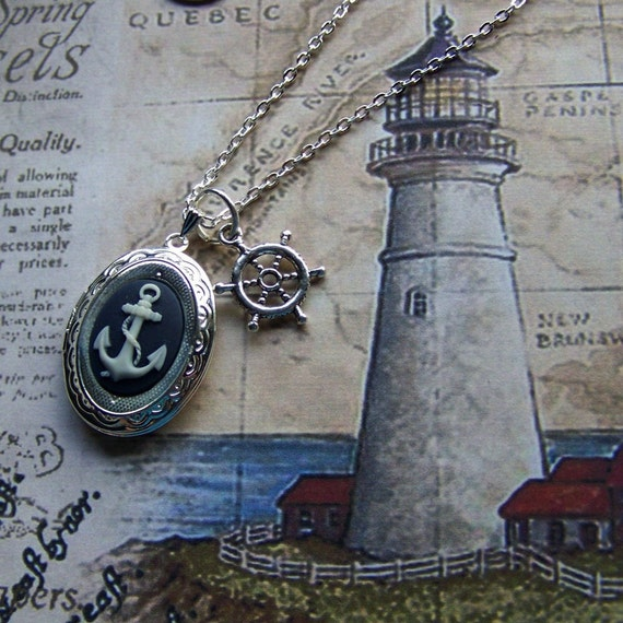 Anchors Away Locket Necklace - Anchors Aweigh - Navy Blue & White Nautical Cameo - Bright Silver - Ship's Wheel