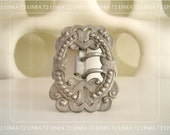 Edwardian Sash Buckle with Hearts Scrolls and Bohemian Style Steel Cut Designs