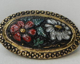 Two Flowered Oval Czech Glass Button