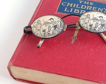 Looking Through a Children's Library - Altered Vintage Book - Vintage Book Illustration