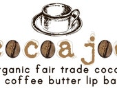 Cocoa Joe Fair Trade Organic Cocoa Butter and Brazilian Coffee Butter Lip Balm Handmade with Unbleached Beeswax