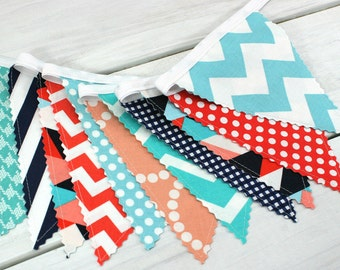 Banner Bunting, Photo Prop, Fabric Flags, Baby Shower, Birthday - Navy Blue, Turquoise, Peach, Coral, Aqua Blue, Chevron, Dots, Geometric