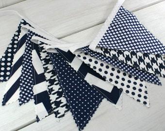 Bunting Banner, Boy Nursery Decor, Photography Prop, Fabric Flags, Nautical Nursery Decor - Navy Blue, Chevron, Dots, Stripe