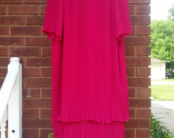 Vintage 80s Fuschia Ruffle Pleated Flapper Style Dress Size Medium Large