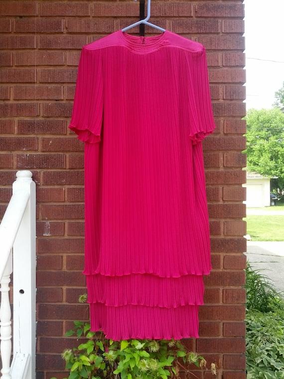 Vintage 80s Fuschia Ruffle Pleated Flapper Style Dress Size