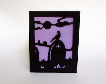 Gothic Cemetery Silhouette Art Greeting Card Cut Paper Black & Purple