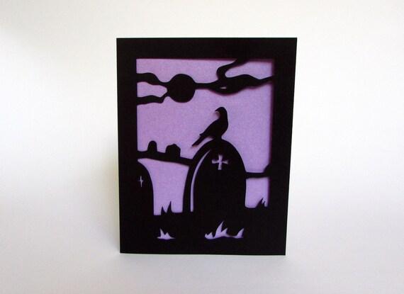 Gothic Cemetery Silhouette Art Greeting Card Cut Paper Black & Purple