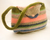 Girls Handmade Felt striped green pink blue purse great gift for a girl play purse - Bylala