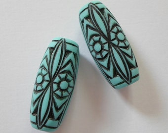 CLEARANCE **** Vintage Lucite Turquoise Art Deco Beads 11mm x 25mm Tribal Boho