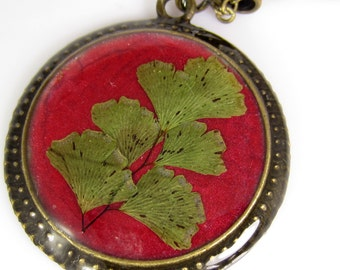 Maidenhair Fern on Burgundy, Pressed Flower Pendant, Real Flowers,Pressed Flower Jewelry, Resin (1372)