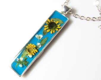 Sunflowers on Turquoise Pendant, Real Flower Jewelry,  Pressed Flowers, Resin,  (1475)