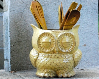 ceramic owl planter utensil holder large vintage style home decor in butter yellow