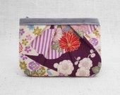 Zippered wallet in Japanese kimono fabric chrysanthemums and cherry blossoms floral pattern