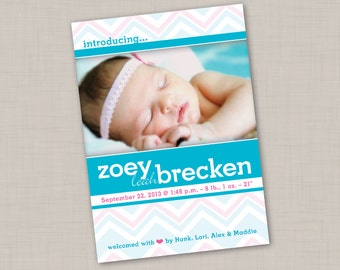 Bright Blue Varied Chevron Birth Announcement (PRINT YOUR OWN) for boy or girl