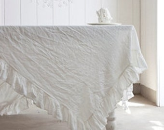 White Linen Fabric Material Belgian, used in Rachel Ashwell Shabby Chic& Bella Notte  bedding duvets and curtains