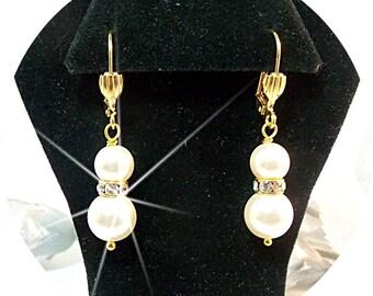 Pearl Earrings, Gold Earrings, Wedding Earrings, Bridal Jewelry, Bridesmaid, Pearl, Wedding Party, Dressy