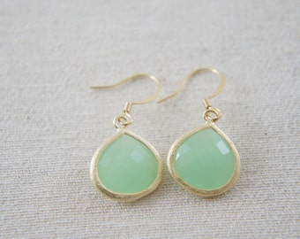 mint green gold earrings, bridal, wedding, bridesmaid, gift