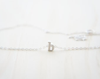 """Silver Letter, Alphabet, Initial  """"b"""" necklace, birthday gift, lucky charm, layered necklace"""