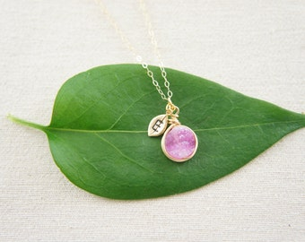 Gold wire wrapped Hot Pink Druzy Quartz necklace with a personalized leaf, gold, wedding, bridesmaid, layered necklace