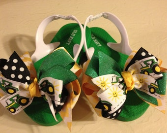 Little Girl's size 8 Flip Flops with Green Tractor Bows