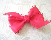 Hair Bow Clip -- Pinwheel Bow -- Hot Pink -- Satin Picto