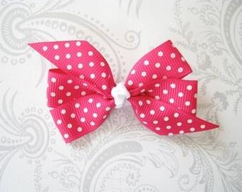 Hair Bow Clip -- Pinwheel Bow -- Pink Swiss Dot -- Magenta