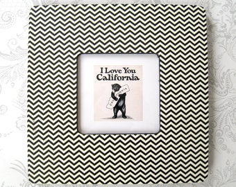 Black and Cream Chevron -- Picture Frame -- Office -- Dorm