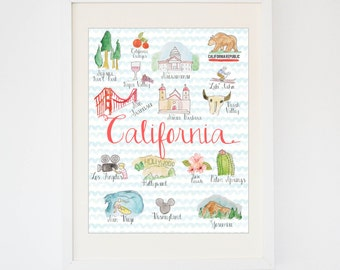 Original California State Art -- Watercolor California Print -- State Souvenir