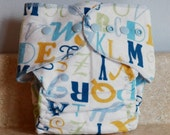 Fitted Small Cloth Diaper- 6 to 12 pounds- Alphabet