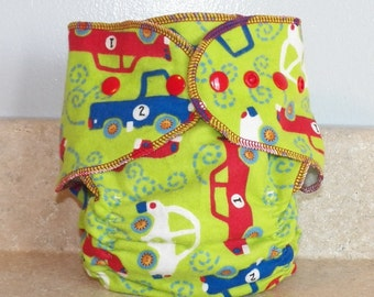 Fitted Large Cloth Diaper- 20 to 30 pounds-  Vehicles- 19017