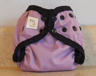 Preemie Newborn PUL Diaper Cover with Leg Gussets- 4 to 9 pounds- Lilac with Black Accents- 20016