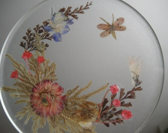 Misty Morning Pressed Flower English Daisy,Larkspur,Ferns Glass Suncatcher-Gifts Under 35-Nature's Art