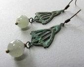 Army Green Earrings Dangle, Art Deco Earrings Green Verdigirs Patina, Sage Green Jade Earrings - ART DECO