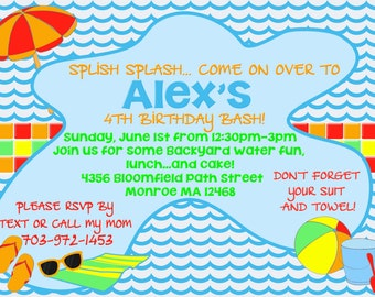 Birthday Invitation - Pool Party / Beach Party Theme