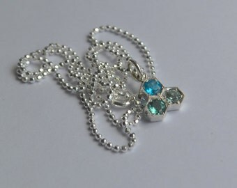 Argentium Silver Hexagon Bezel Necklace with Apatite and Tourmaline