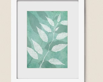 5 x 7 Tree Leaf Art Nature Wall Decor, Teal Living Room Artwork for Home, Bedroom Wall Art, Soft Pastel Wall Art (136)