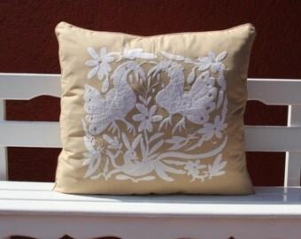 OVERSIZED Tan and white Linen Otomi Lumbar Pillow Sham-Ready to ship