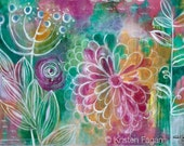 Garden Party // Original Abstract Floral Garden Shabby Chic Modern Acrylic Painting - 24 x 36