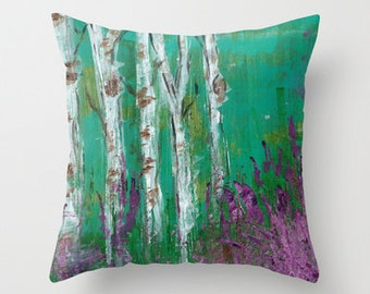 Birch Trees in a Lavender Field Pillow Cover 16x16, 18x18 or 20x20
