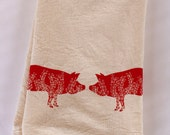 Flour Sack Towel, Hand Printed, Red Pigs, Cotton
