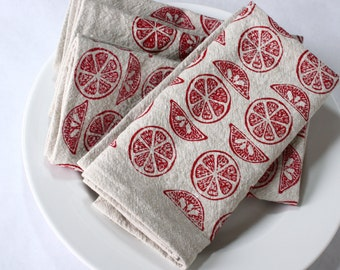 Cloth Napkins, Ruby Citrus Hand Print on Natural Linen and Cotton Blend, Set of 4 Sixteen inch Dinner Napkins