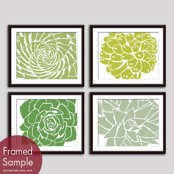 Modern Succulent Botanicals - Set of 4 - Art Prints (Featured in Basil, Chartruese, Clover and Veranda) Desert Rose Art Prints