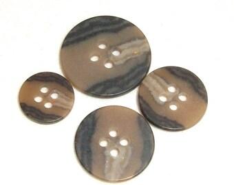 Brown Buttons in 4 Sizes Bulk Destash Set of  75
