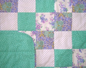 Baby Girl Quilt in Mint, Jade, Purple, and Lavender Crib or Nap Size