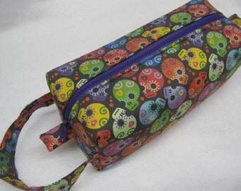 Dia de Los Muertos Colorful Skulls Halloween Cosmetic Bag Makeup Bag LARGE