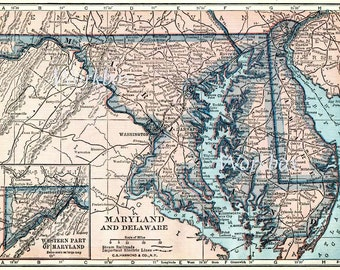 Vintage state map of Maryland and Delaware.  Digital download at 400dpi  State map of 1920s in deep pink and blue.