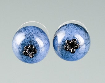 Glass Blueberry Earrings on sterling silver studs lampwork bead jewelry hand blown glass art birthday gift or anniversary gift for gardener