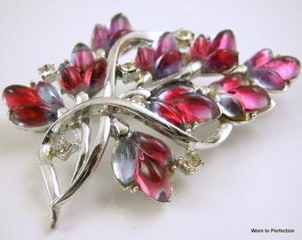 Vintage Coro Iris Glass Silvertone Flower Brooch